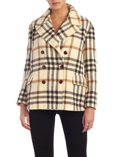 Aspesi - Double-breasted coat featuring check print