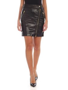 Moschino - Coated cotton mini-skirt with zip details