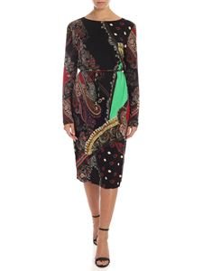 Etro - Printed dress in black with belt