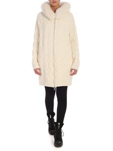 Blumarine - Fur long-fit cardigan in cream color