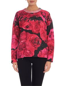 Blumarine - Embroidery pullover in shades of red and black