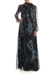 Blumarine - Contrasting wisteria print silk dress in black