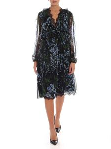 Blumarine - Wisteria print silk dress in black