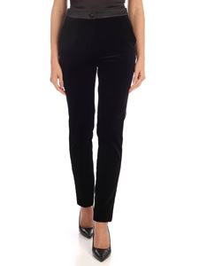 Blumarine - Satin trim velvet trousers in black