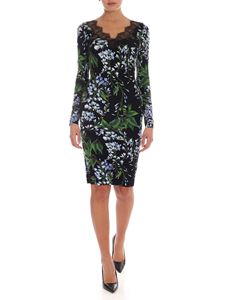 Blumarine - Lace wisteria print slim fit dress in black