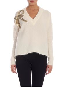 Blumarine - Sequin bow pullover in cream color
