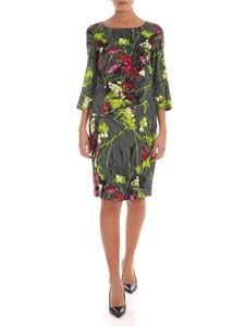 Blumarine - Contrasting floral print dress in grey