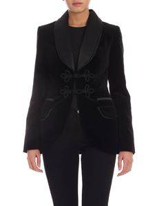 Blumarine - Frog buttons velvet jacket in black