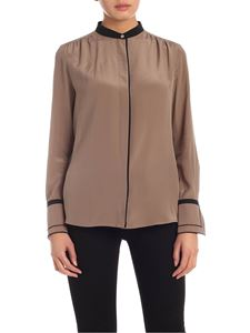 Barba - Silk shirt in light brown with black edges