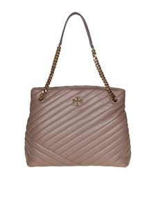Tory Burch - Kira Chevron shoulder bag in taupe colored leather