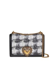 Dolce & Gabbana - Devotion Large bag in tweed and nappa leather