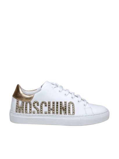 Moschino - Gold logo sneakers in white
