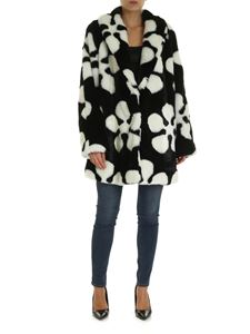 McQ Alexander Mcqueen - Eco-fur coat in black with white print