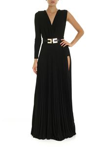 Elisabetta Franchi - Long pleated dress in black lamé