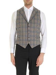 Tagliatore - Dennis houndstooth pattern vest in blue and ivory