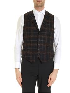 Tagliatore - Dennis vest checkered pattern in blue and brown