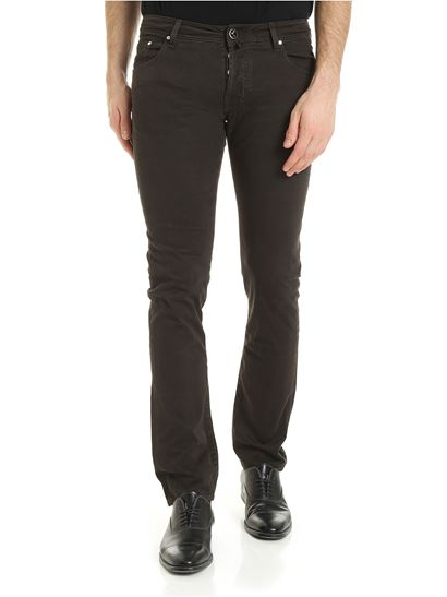 Jacob Cohën - Logo label trousers in brown