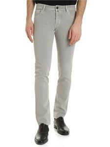 Jacob Cohën - Logo label trousers in ice grey color