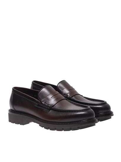 Santoni - Loafers in faded dark brown leather