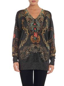 Etro - Floral pattern sweater in lamé black