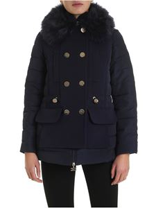 Elisabetta Franchi - Eco-fur down jacket in blue