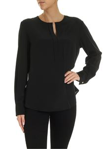 Barba - V-neck blouse in black