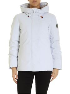 Save the duck - Rubber logo patch down jacket in white