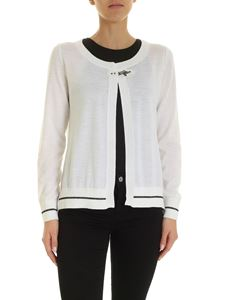 Fay - Lamé detail cardigan in white