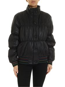 PS by Paul Smith - Artist Stripe detail down jacket in dark blue