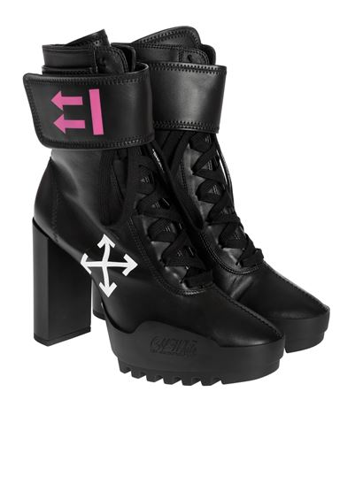 Off-White - Heeled Moto Boots in black