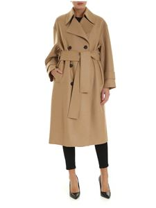 Harris Wharf London - Double-breasted coat in camel-color