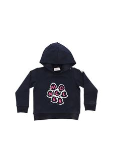 Moncler Jr - Blue sweatshirt with pink Moncler embroidery