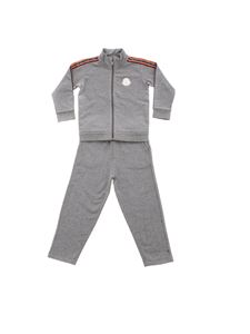 Moncler Jr - Gray tracksuit with branded bands