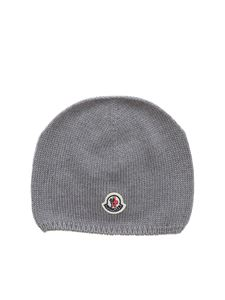 Moncler Jr - Berretto grigio con patch logo