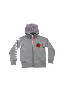 Moncler Jr - Gray sweatshirt in technical fabric with hood