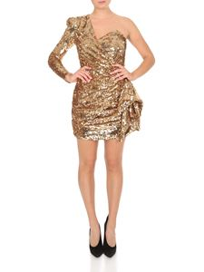 Elisabetta Franchi - Embroidered one-shoulder dress in gold