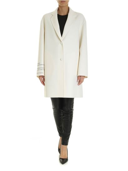 Valentino - Compact drap with poetry coat in cream color