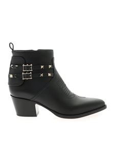 Valentino Garavani - Bootie ankle boots in black with studs