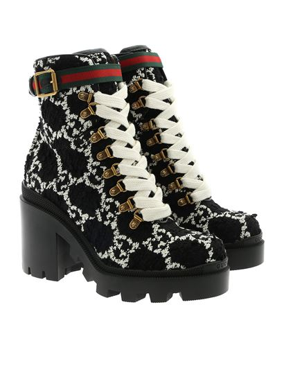 Gucci - GG tweed ankle boots in black and white