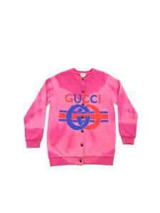 Gucci - Tie dye fleece cardigan in fuchsia