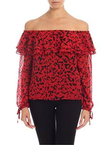 Michael Kors - Off shoulders blouse in black and red