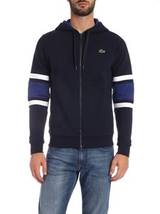 Lacoste - Blue hoodie with white and electric blue details