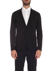 Emporio Armani - Two-buttoned jacket in black with logo brooch