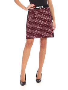 Miu Miu - Monogram pattern skirt in grey black and red