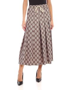 Gucci - GG print pleated skirt in beige