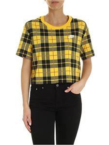 Nike - Checked print t-shirt in yellow