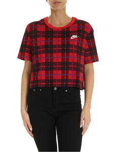 Nike - Check print t-shirt in red