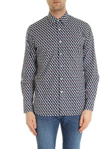 Prada - Geometric pattern shirt in blue white and red