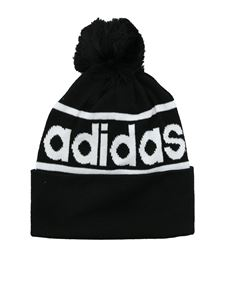 Adidas - Logo Pom bobble beanie in black
