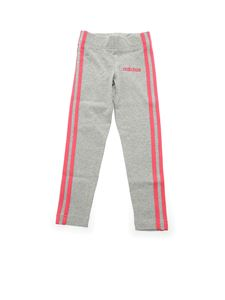 Adidas - Leggings grigi con 3-Stripes rosa